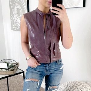 Auth CHANEL Purple Zippered Top With Tie